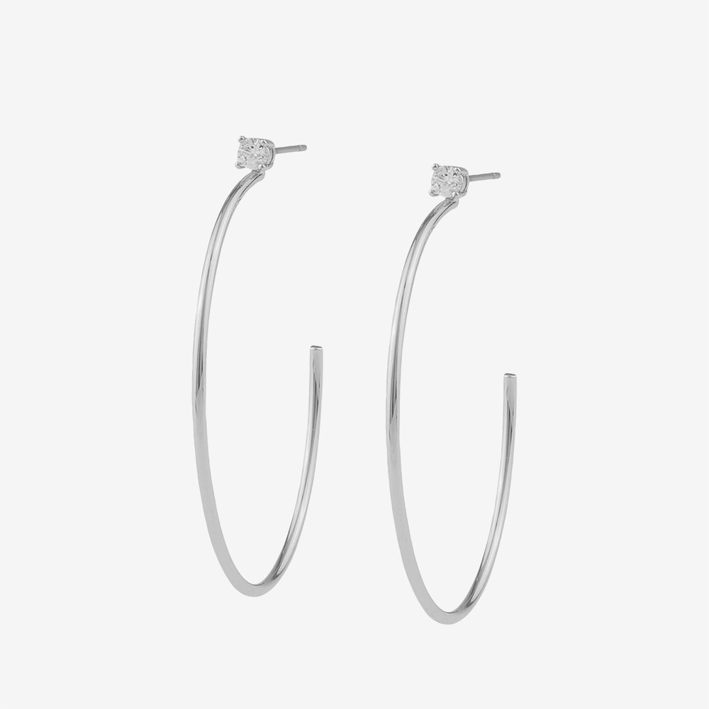 Duo Big Ring Earring in silver clear  95a1b695770ff
