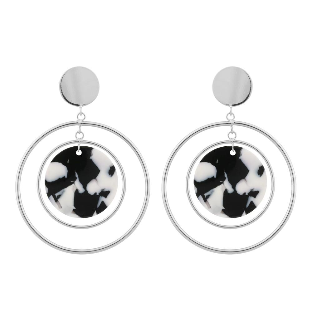 Gray Globe Pendant Earring