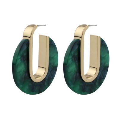 Gray Oval Earring