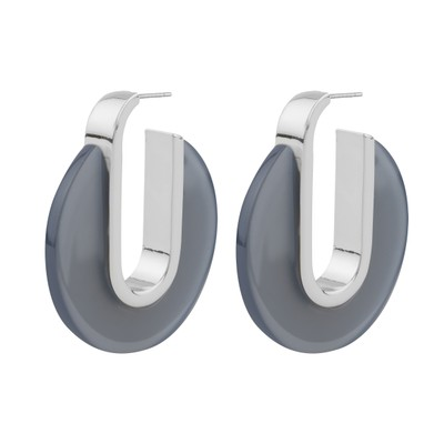 Gray Oval Earring
