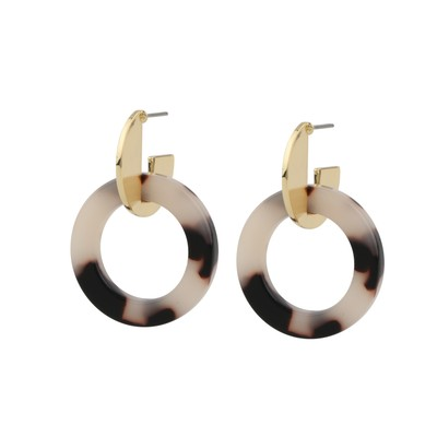 Gray Round Pendant Earring