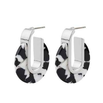 Gray Small Oval Earring