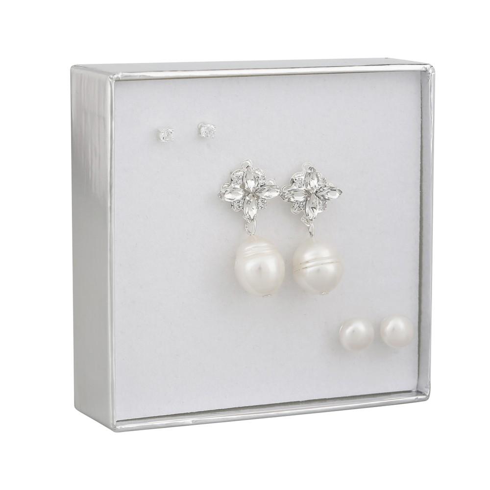 Crystal Pearl Earring Set