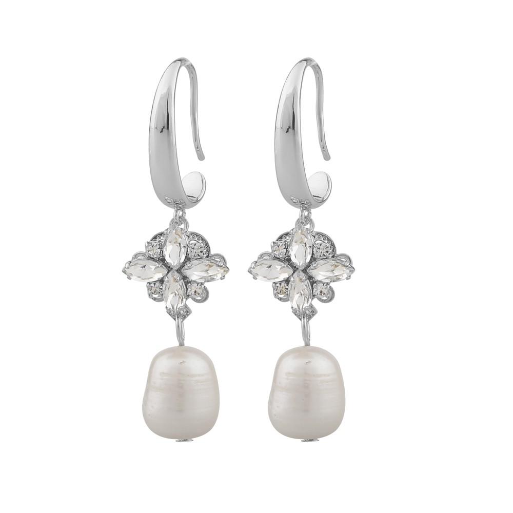 Crystal Pearl Long Earring