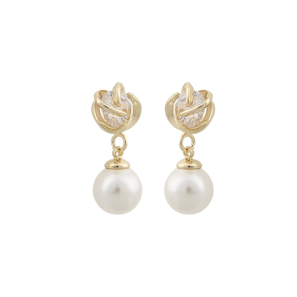 Grass Pearl Pendant Earring