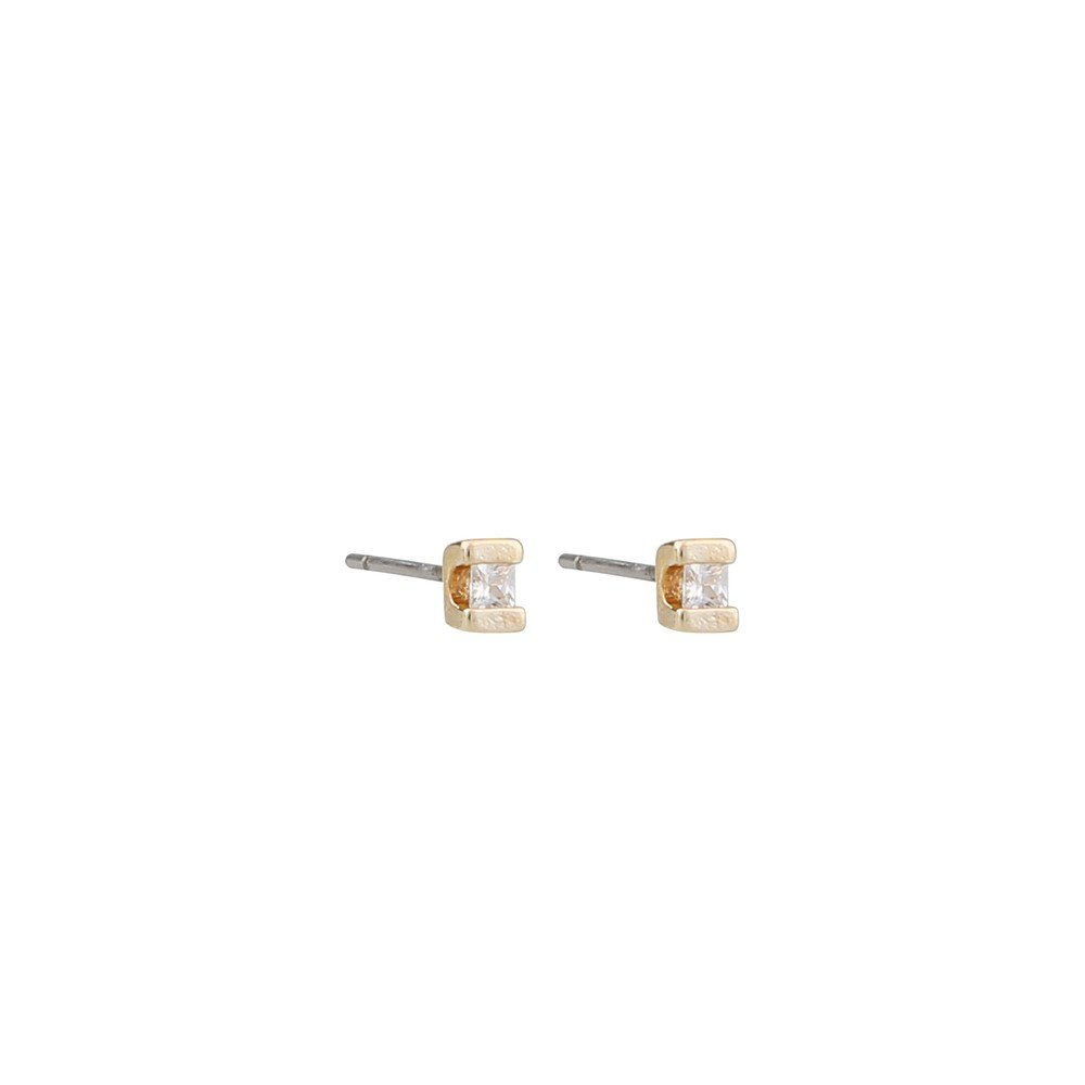 Grass Small Square Stone Earring