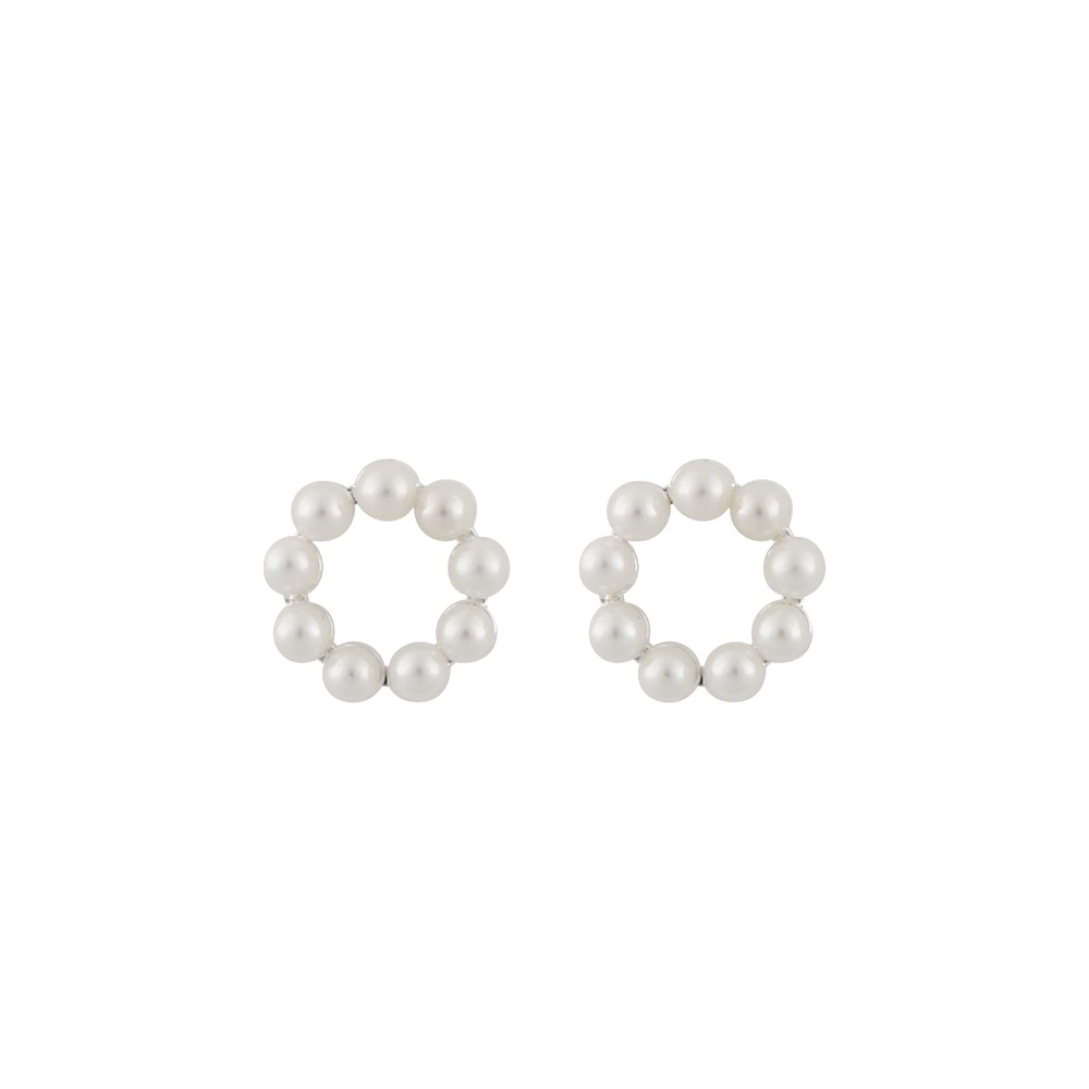 Midnight Pearl Small Round Earring